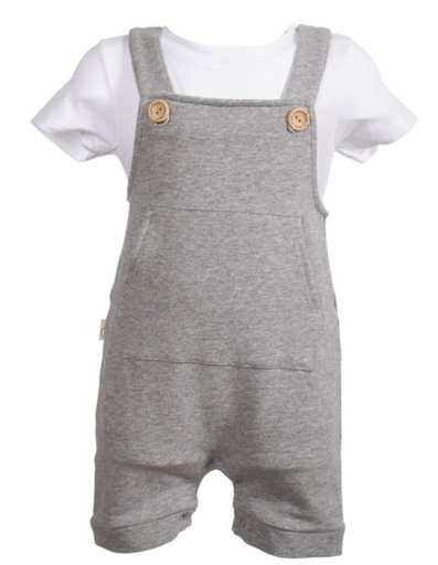 [BNOA003-305000] Organic Cotton grey Overall Mausi